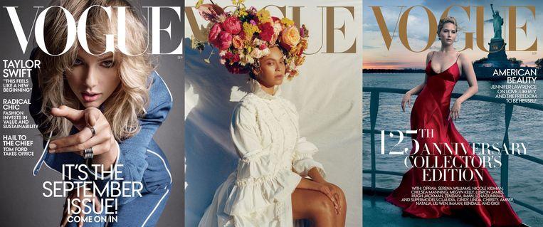 Van links naar rechts: de covers van het iconische Semptember Issue van Vogue de laatste drie jaar. Er wordt verwacht dat die er door de coronacrisis heel anders gaat uitzien.