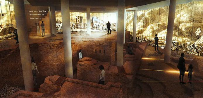 Een impressie van het Panorama Van Coehoorn, ofwel hoe de ondergrondse vestingkelder onder de Hof van Asselbergs er in 2020 uit moet zien: een ruimte waar projecties van historische gebeurtenissen te zien zijn voor bezoekers.