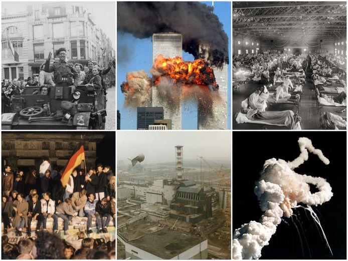 Met de klok mee vanaf linksboven: de bevrijding in Den Haag (1945), de aanslagen op de Twin Towers (2001), een militair hospitaal voor patiënten met Spaanse Griep (1918-1919), het uiteenvallen van ruimteveer Challenger (1986), de kernramp in Tsjernobyl (1986) en de val van de Muur (1989).