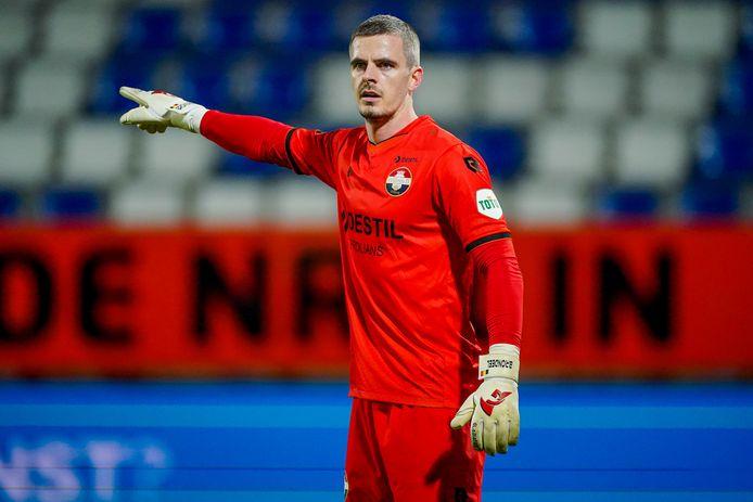 Willem II-keeper Jorn Brondeel in de wedstrijd tegen Vitesse.