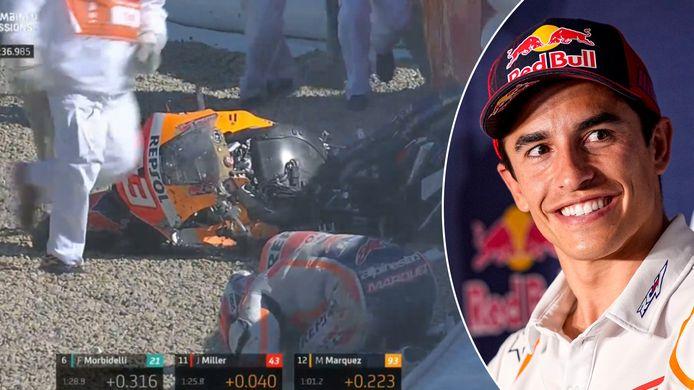 Marquez maakte meteen een horrorcrash, maar kwam er gelukkig ongedeerd uit.