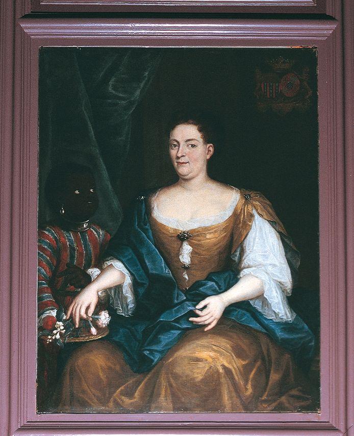 Een schilderij dat verwijst naar het Gelderse slavernijverleden. Het hangt in kasteel Cannenburch in Vaassen. Een portret van Anna Margaretha van Isendoorn, de naam van de jongen links is nog onbekend.