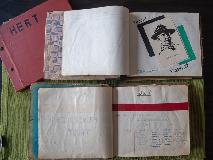 Oude logboeken van Scouts Prins Boudewijn in Wetteren.