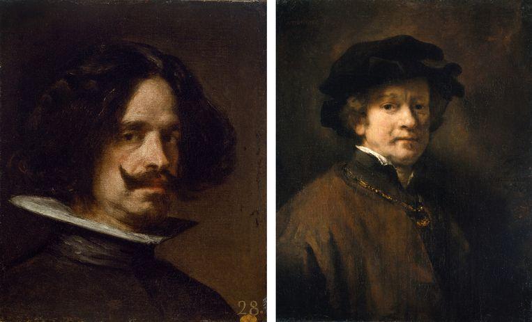 Links: Velázquez, Zelfportret, ca. 1640. Rechts: Rembrandt, Zelfportret met baret en gouden ketting, 1654 . Beeld
