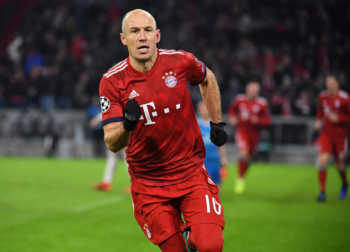 Arjen Robben na zijn openingsgoal tegen Benfica van afgelopen week.