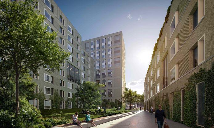 Doorkijk via de binnentuin van The City, gezien vanuit de kant van de spoorlijn. Links van het midden de veertien etages tellende toren.