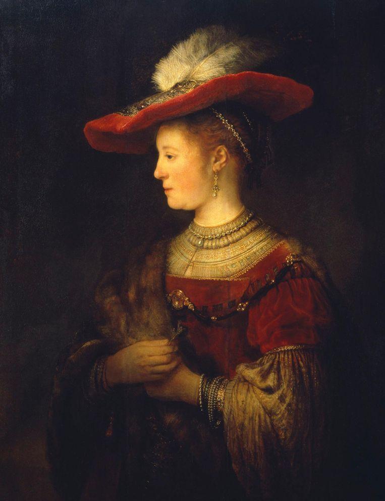 Dit portret van Rembrandts vrouw Saskia is voor het eerst in 250 jaar in Nederland te zien. foto Beeld Ute Brunzel/Museumslandschaft Hessen Kassel, Gemäldegalerie Alte Meister