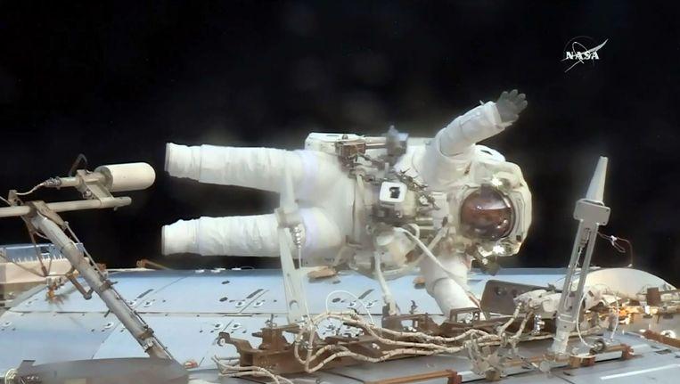 Astronaut Jack Fischer aan het ISS.