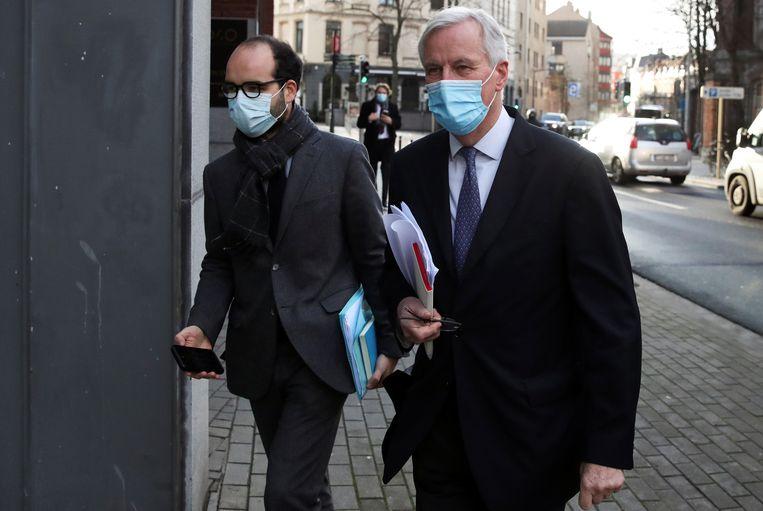 Europees hoofdonderhandelaar Michel Barnier vandaag in Brussel. Beeld REUTERS