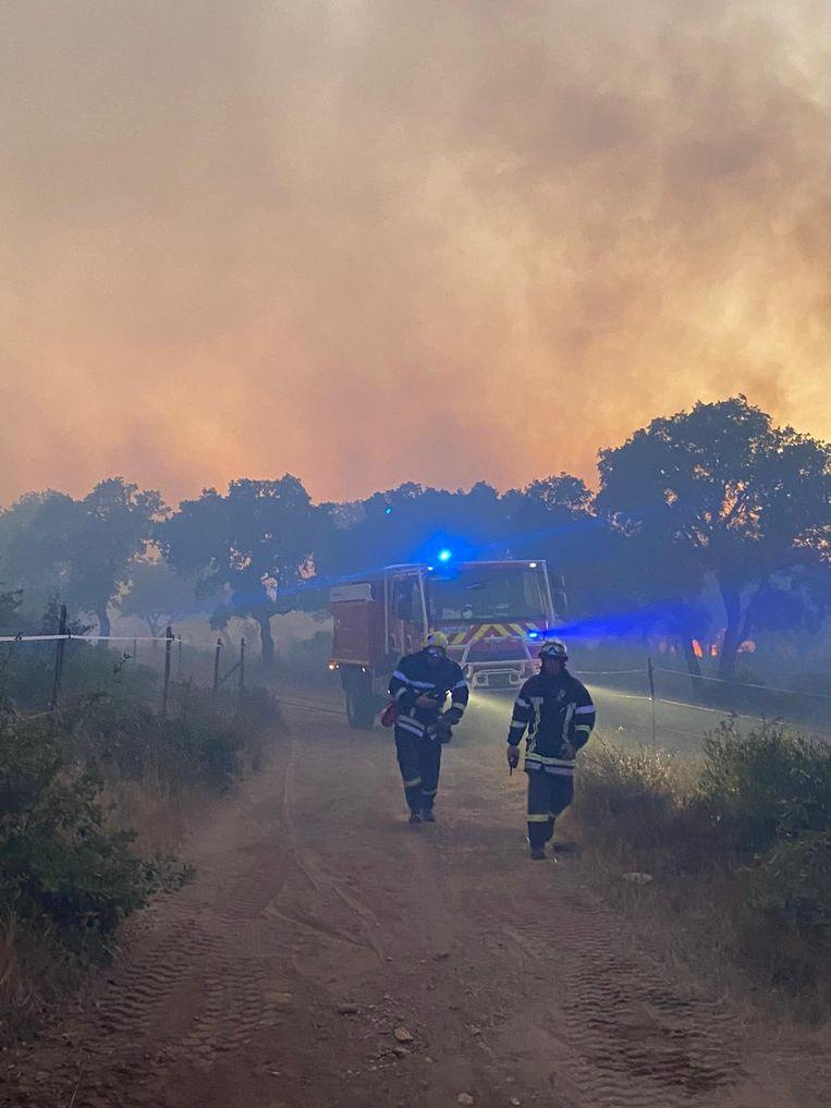 Brandweerlieden in de buurt van Gonfaron. Beeld via REUTERS