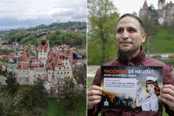 """Roemenen die zich in mei en juni lieten inenten in het Dracula-kasteel kregen een certificaat waarin hun """"vrijmoedigheid en verantwoordelijkheid"""" werd geprezen."""