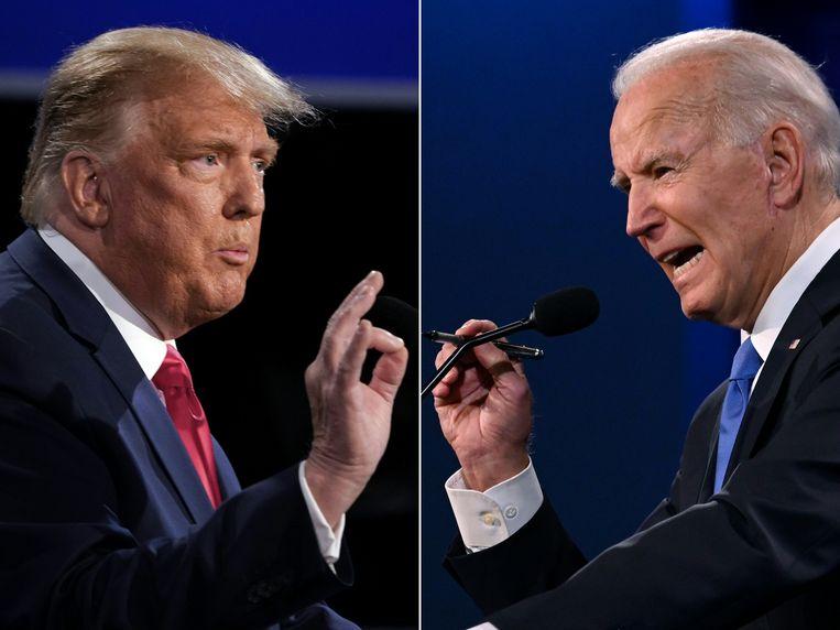 President Donald Trump (links) en zijn opvolger Joe Biden Beeld AFP