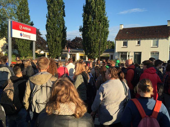 Reizigers wachten woensdagochtend op station Wehl op bussen omdat er geen treinen rijden.