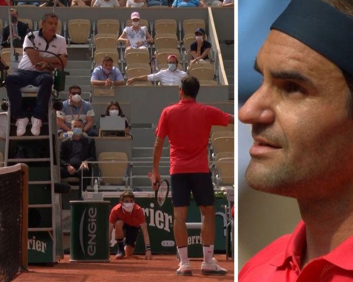 La colère de Roger Federer envers l'arbitre lors de sa victoire contre Marin Cilic.