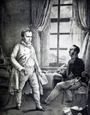 Napoleon dicteert Gourgaud zijn Memoires.