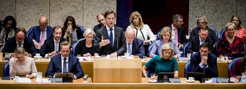 Premier Rutte met zijn voltallige ministersploeg tijdens de algemene beschouwingen in september 2019. Beeld ANP