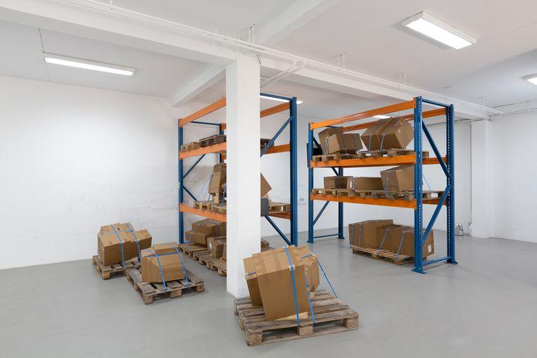 De dozen liggen onder dezelfde hoek als de brokstukken van het nooit voltooide museum op de Veluwe. Beeld -