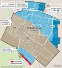 Een kaartje van de uitbreiding van Veenendaal in de afgelopen jaren. De rode zone - het Veeneind - was in 2017 nog onderwerp van gesprek van een mogelijke grenscorrectie.