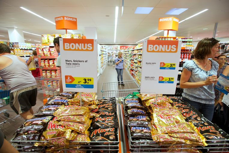 Snoep in de Bonus bij Albert Heijn. Beeld Belga