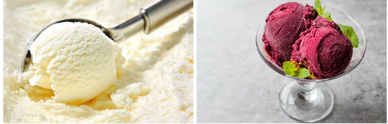Links vanille roomijs, rechts het lichtere sorbetijs.