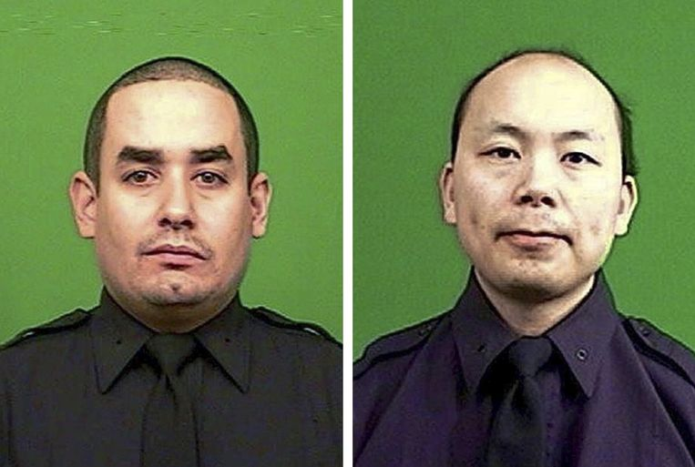 Slachtoffers Rafael Ramos (l) and Wenjian Liu (r). Beeld EPA
