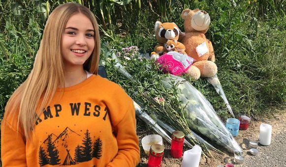 De familie van Kayleigh legde bloemen, knuffels en kaartjes op de plaats van het ongeval in Nieuwerkerken.