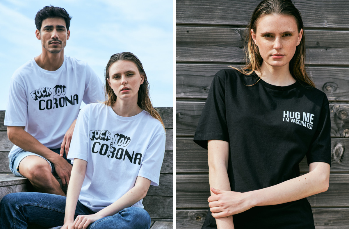 Les T-shirts anti-corona de la marque Le Fabuleux Marcel de Bruxelles.