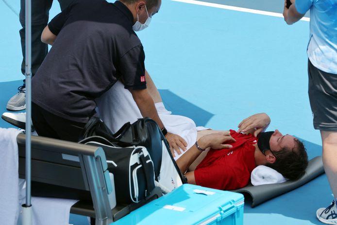 Daniil Medvedev had het zwaar tijdens zijn partij met Fabio Fognini.
