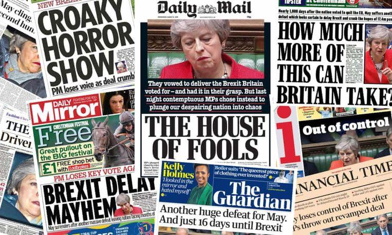 Voorpagina's van Britse kranten. Beeld nvt