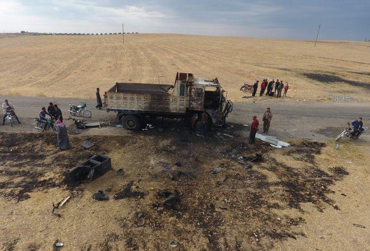De plek in Noord-Syrië waar de Amerikanen IS-woordvoerder Abu Hassan al-Muhajir wisten te doden.  Beeld AFP