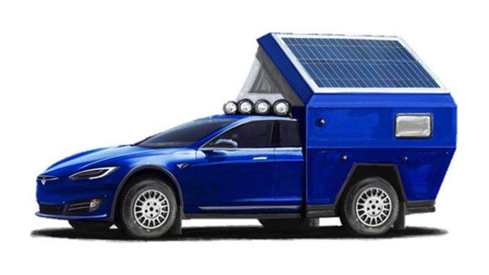 De Tesla Model S als kampeerauto, compleet met hefdak en zonnepanelen