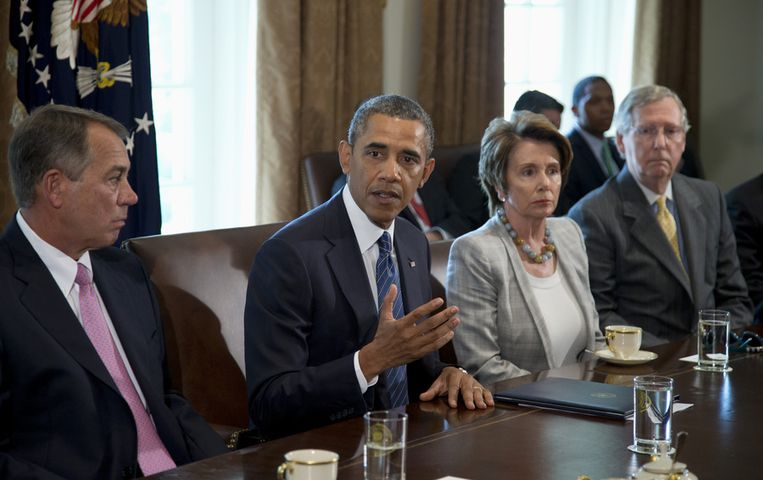 President Obama (midden), John Boehner en Nancy Pelosi, vandaag. Beeld ap
