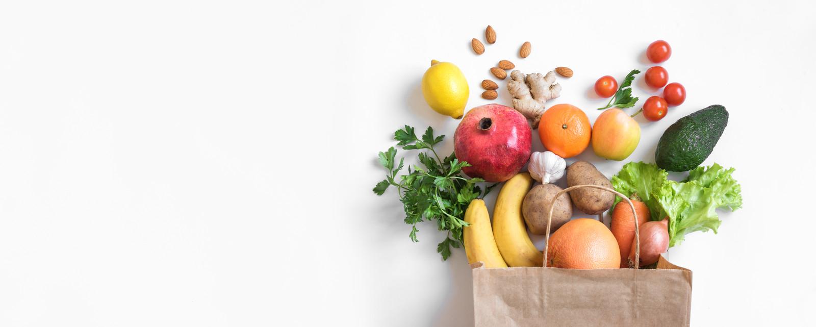 Veel groenten en fruit in deze boodschappenlijst.