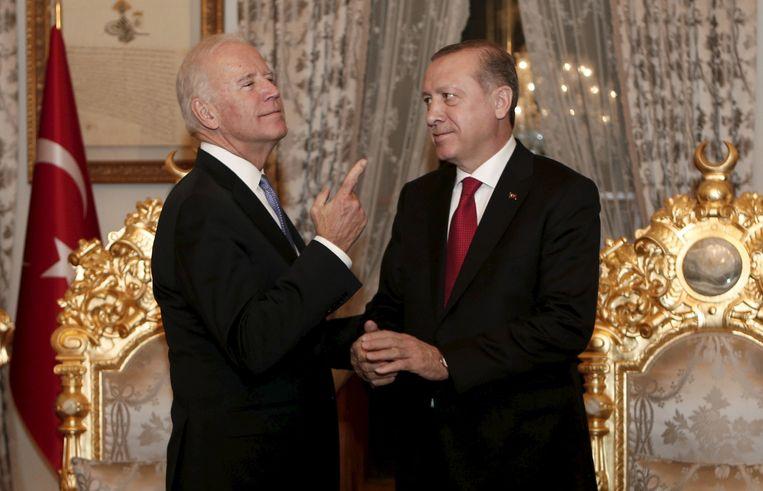 Biden, toen nog vicepresident, op bezoek bij Erdogan in 2016. Beeld Reuters