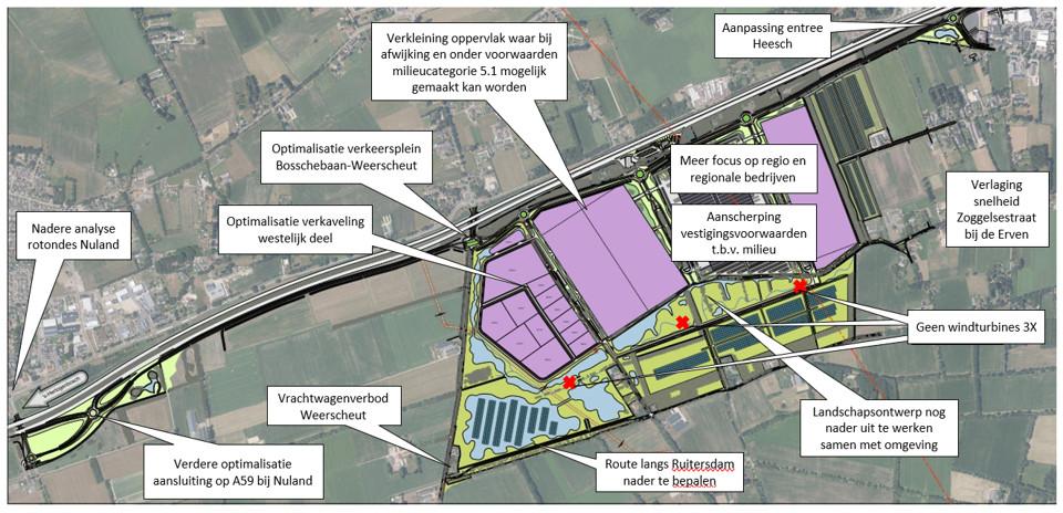 Veranderingen in 2021 ten opzichte van het eerdere plan voor Heesch West.
