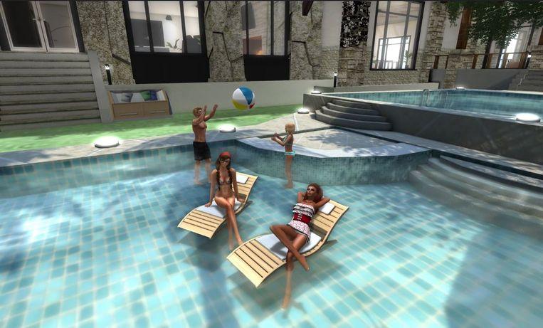 Een scene uit Second Life Beeld null