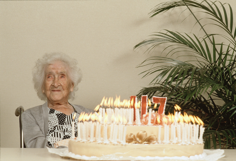 Jeanne Calment op haar 117de verjaardag Beeld Sygma via Getty Images