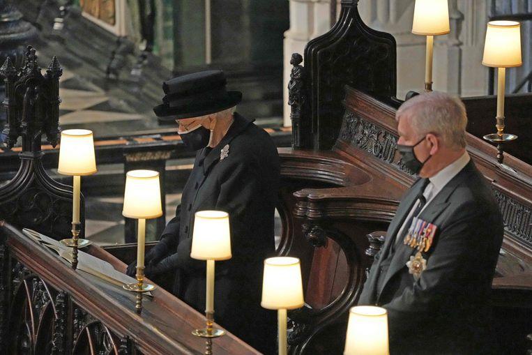 Koningin Elizabeth in de St. George's Chapel op Windsor Castle Beeld AFP
