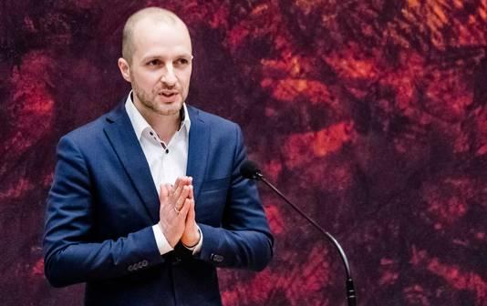 Maarten Hijink (SP) tijdens het wekelijkse vragenuur in de Tweede Kamer.