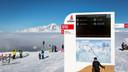 Een voorbeeld van een waarschuwingsbord op wintersport in Frankrijk.