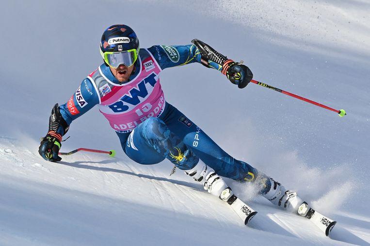 US Ted Ligety neemt deel aan de eerste ronde van de reuzenslalomrace voor heren tijdens de FIS Wereldbeker alpineskiën op 9 januari 2021 in Adelboden.  Beeld Hollandse Hoogte / Fabrice COFFRINI / AFP