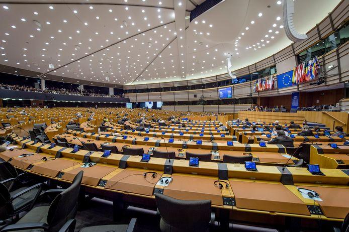 De plenaire zaal van het Europees Parlement in Brussel.