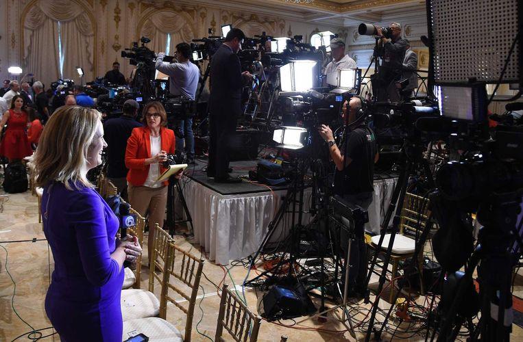 Media bereiden zich voor op een toespraak van Trump Beeld Epa