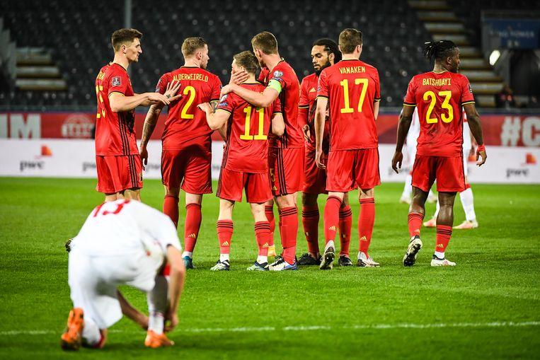 Vreugde bij de Belgen na hun ruime zege tegen Wit-Rusland. Beeld Icon Sport
