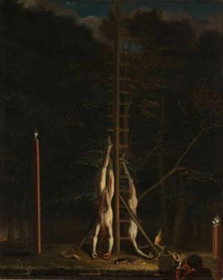 'De lijken van de gebroeders de Witt' van Jan de Baen.  Beeld Wikipedia