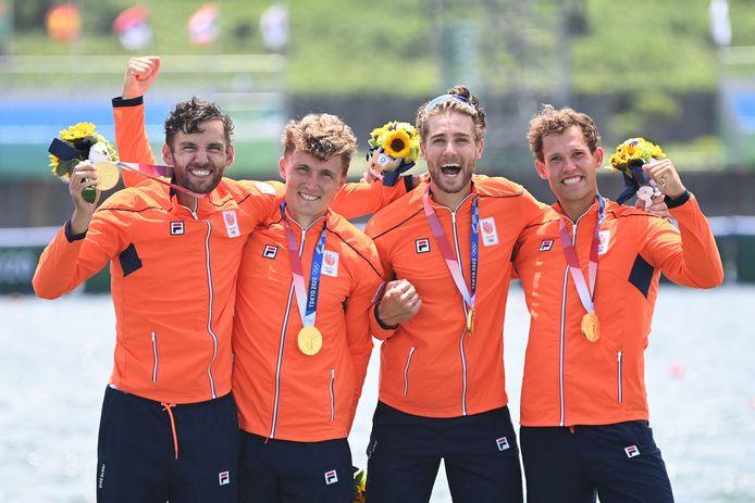 Dirk Uittenbogaard, Abe Wiersma, Tone Wieten en Koen Metsemakers bezorgden TeamNL de eerste gouden medaille in Tokio.