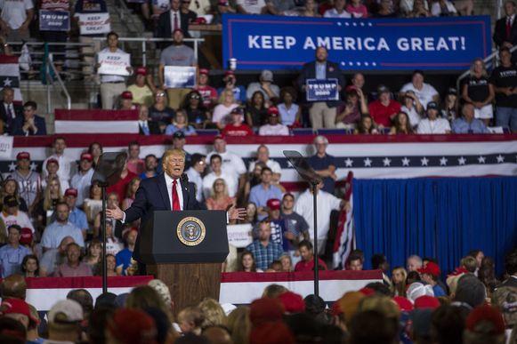 De Amerikaanse president Trump tijdens een rally in Greenville, Noord Carolina. Verwacht wordt dat hij een veto zal uitspreken tegen de resolutie.