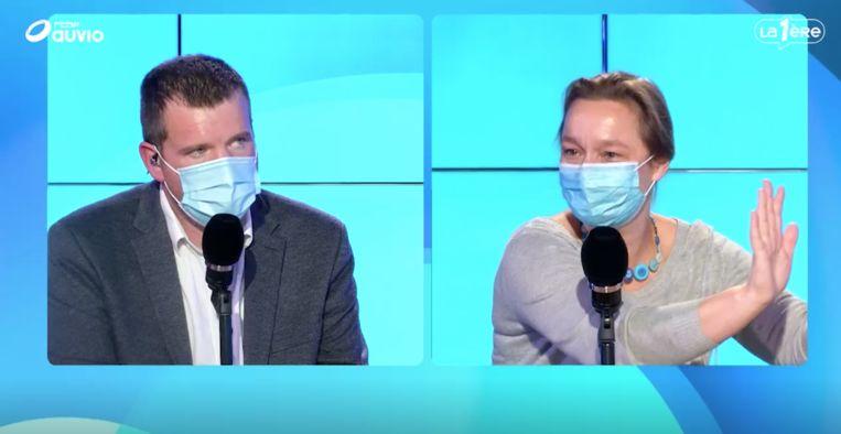 Erika Vlieghe met mondmasker in debat op de RTBF. Beeld rtbf
