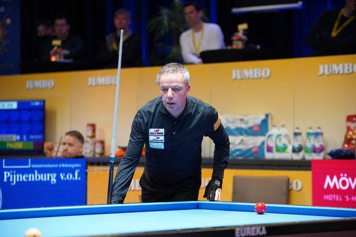 Dick Jaspers, uitgeschakeld in de halve finale van het NK driebanden.