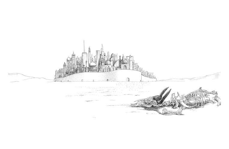 De tekening van Floris Tilanus bij het verhaal De koperen stad. Beeld Floris Tilanus